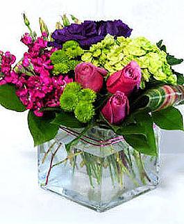 roseville flowers cube vase