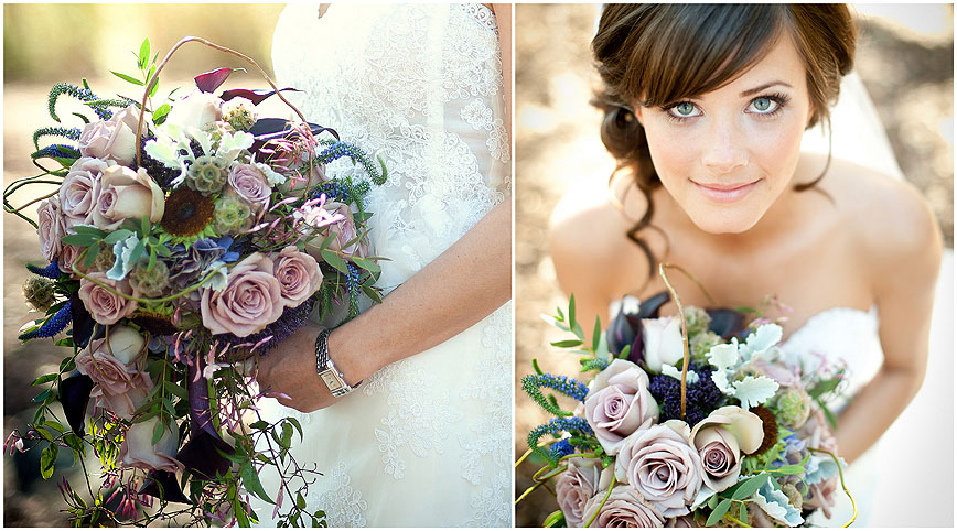 sacramento wedding florist rustic purple cascade bouquet
